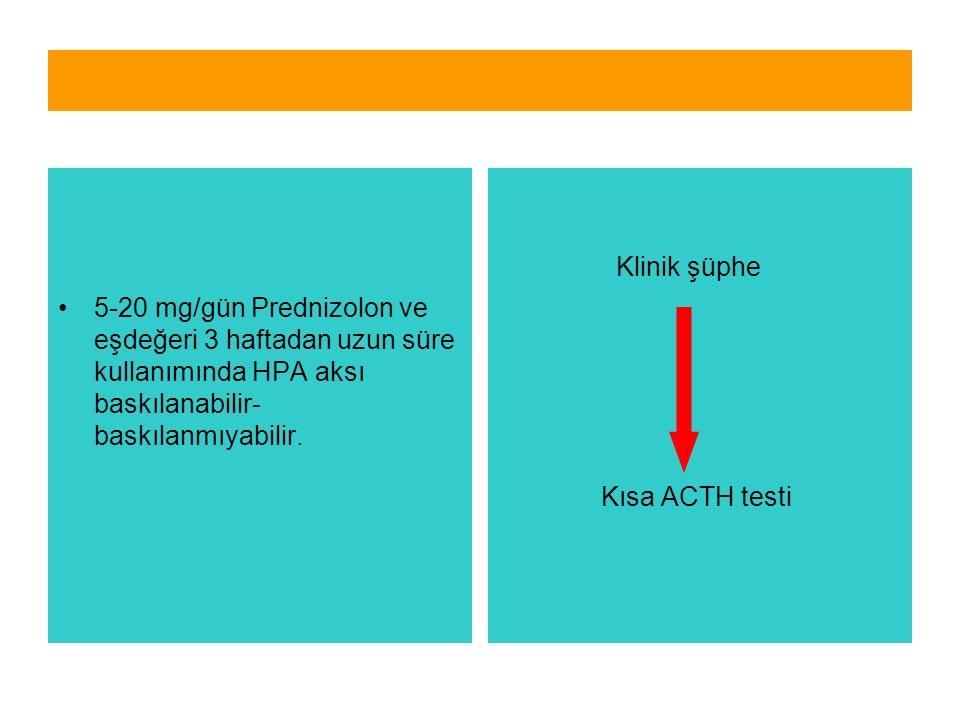 5-20 mg/gün Prednizolon ve eşdeğeri 3 haftadan uzun süre kullanımında HPA aksı baskılanabilir- baskılanmıyabilir. Klinik şüphe Kısa ACTH testi