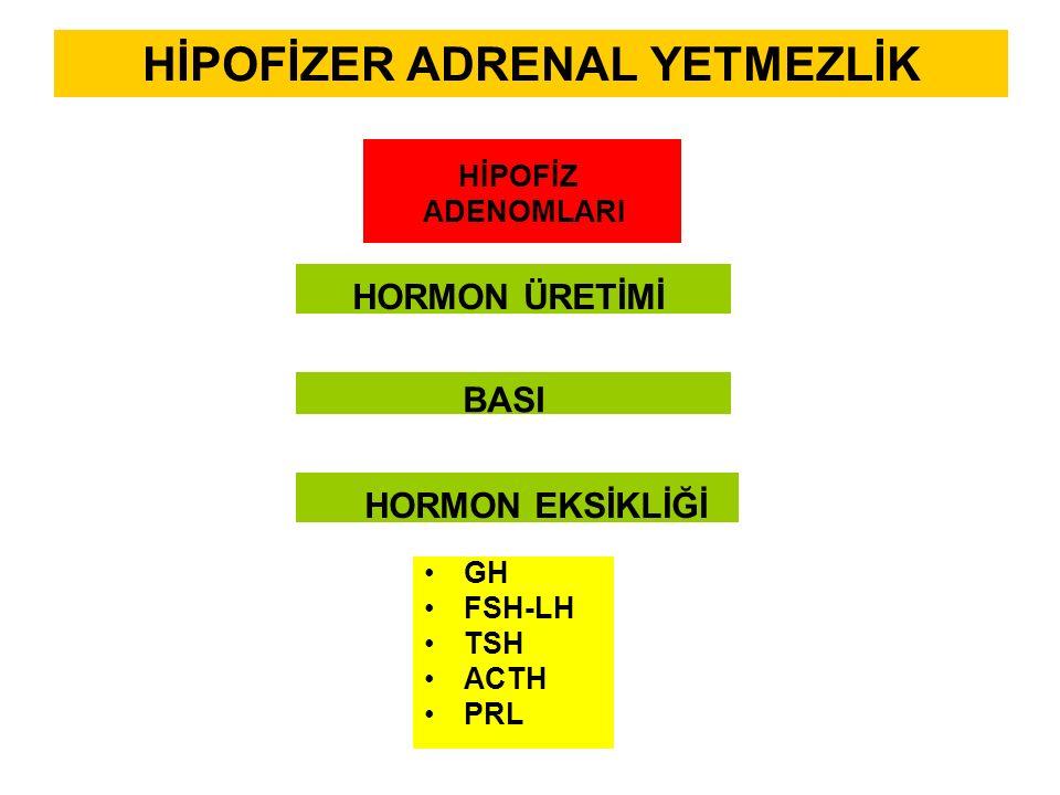 HİPOFİZER ADRENAL YETMEZLİK HİPOFİZ ADENOMLARI GH FSH-LH TSH ACTH PRL BASI HORMON ÜRETİMİ HORMON EKSİKLİĞİ