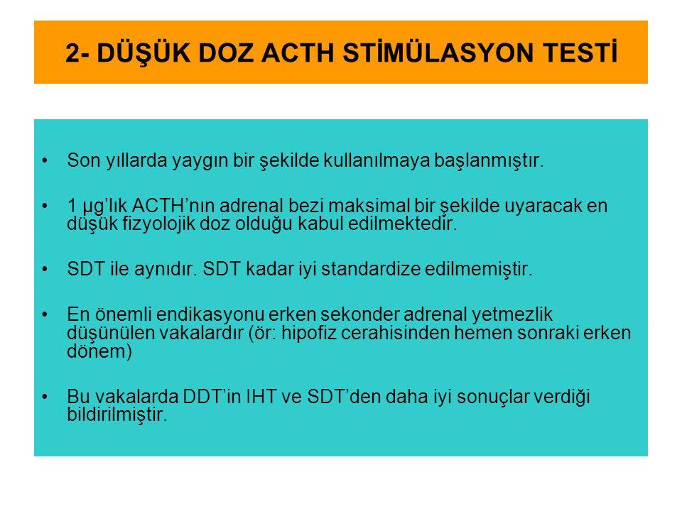 2- DÜŞÜK DOZ ACTH STİMÜLASYON TESTİ Son yıllarda yaygın bir şekilde kullanılmaya başlanmıştır. 1 μg'lık ACTH'nın adrenal bezi maksimal bir şekilde uya