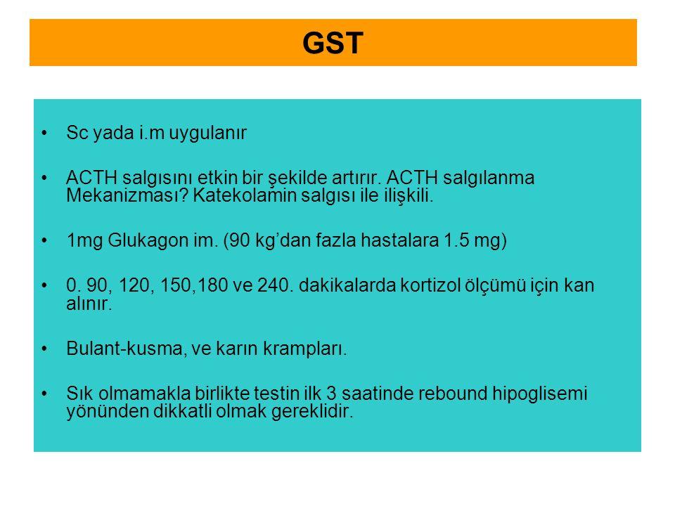 GST Sc yada i.m uygulanır ACTH salgısını etkin bir şekilde artırır. ACTH salgılanma Mekanizması? Katekolamin salgısı ile ilişkili. 1mg Glukagon im. (9
