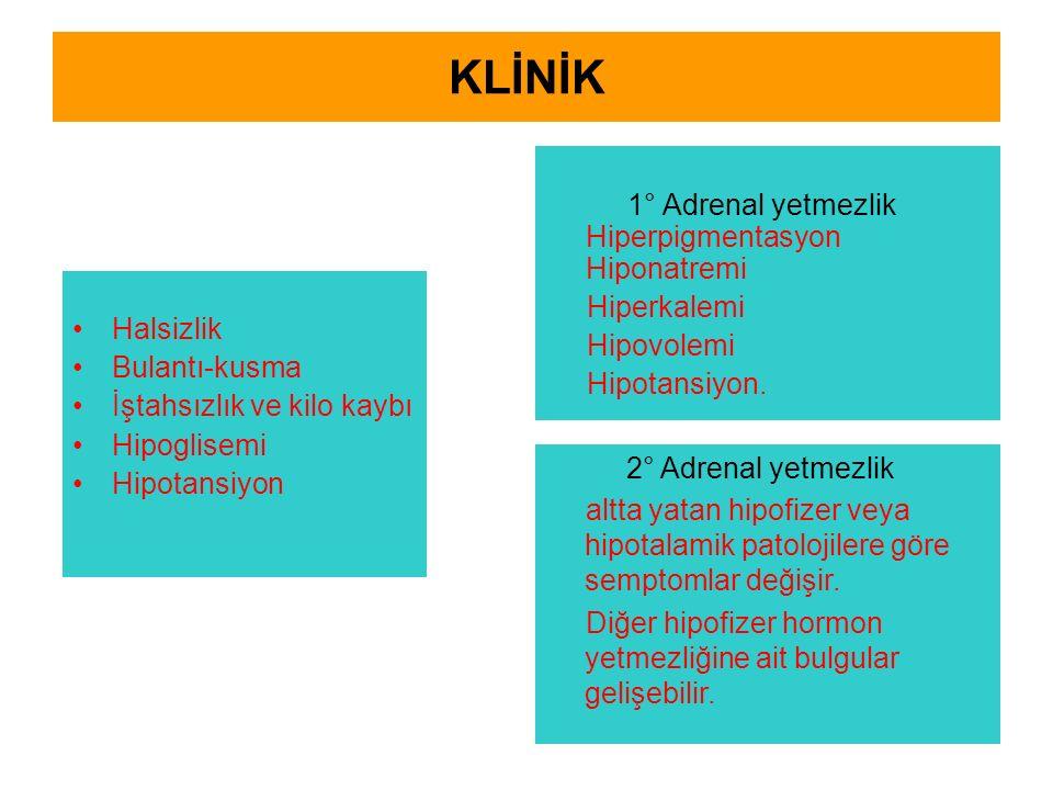 KLİNİK Halsizlik Bulantı-kusma İştahsızlık ve kilo kaybı Hipoglisemi Hipotansiyon 1° Adrenal yetmezlik Hiperpigmentasyon Hiponatremi Hiperkalemi Hipovolemi Hipotansiyon.