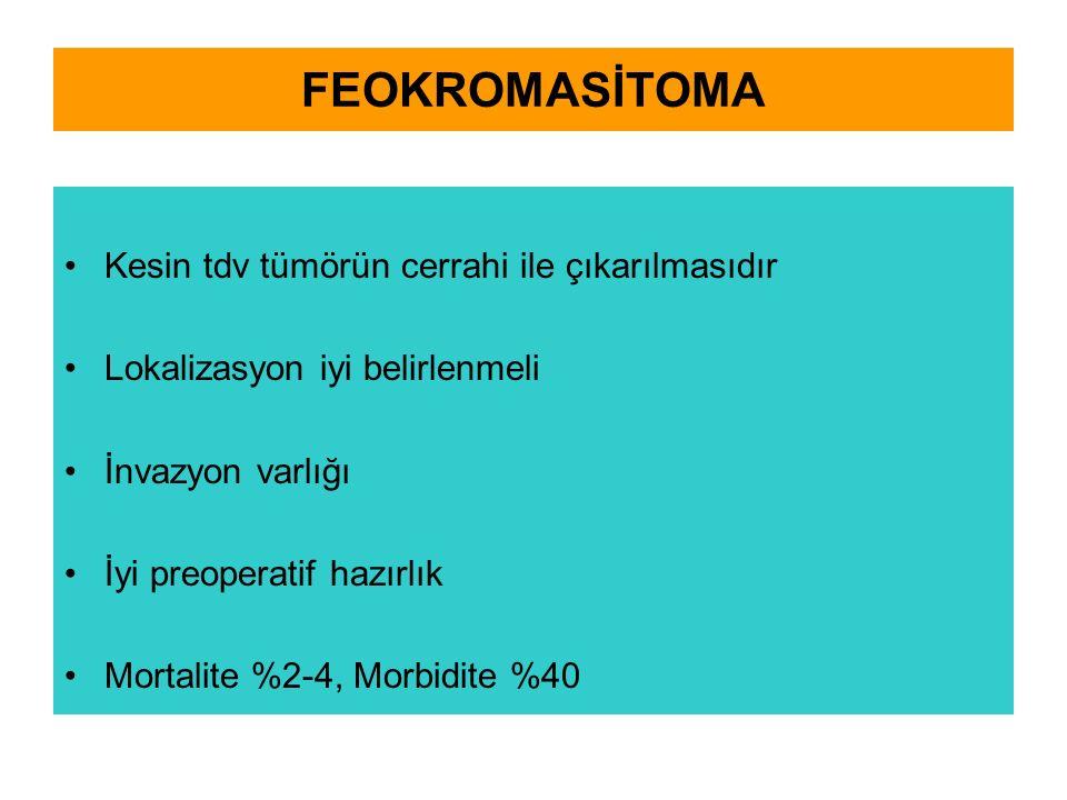 FEOKROMASİTOMA Kesin tdv tümörün cerrahi ile çıkarılmasıdır Lokalizasyon iyi belirlenmeli İnvazyon varlığı İyi preoperatif hazırlık Mortalite %2-4, Morbidite %40
