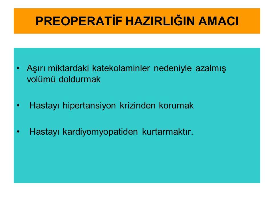 PREOPERATİF HAZIRLIĞIN AMACI Aşırı miktardaki katekolaminler nedeniyle azalmış volümü doldurmak Hastayı hipertansiyon krizinden korumak Hastayı kardiyomyopatiden kurtarmaktır.