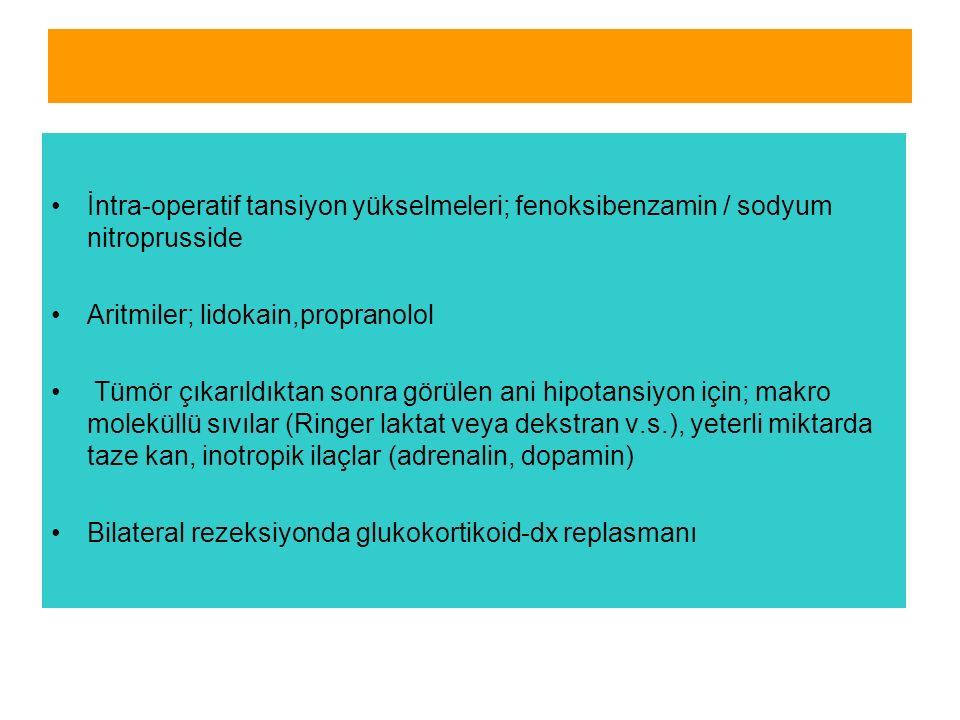 İntra-operatif tansiyon yükselmeleri; fenoksibenzamin / sodyum nitroprusside Aritmiler; lidokain,propranolol Tümör çıkarıldıktan sonra görülen ani hipotansiyon için; makro moleküllü sıvılar (Ringer laktat veya dekstran v.s.), yeterli miktarda taze kan, inotropik ilaçlar (adrenalin, dopamin) Bilateral rezeksiyonda glukokortikoid-dx replasmanı