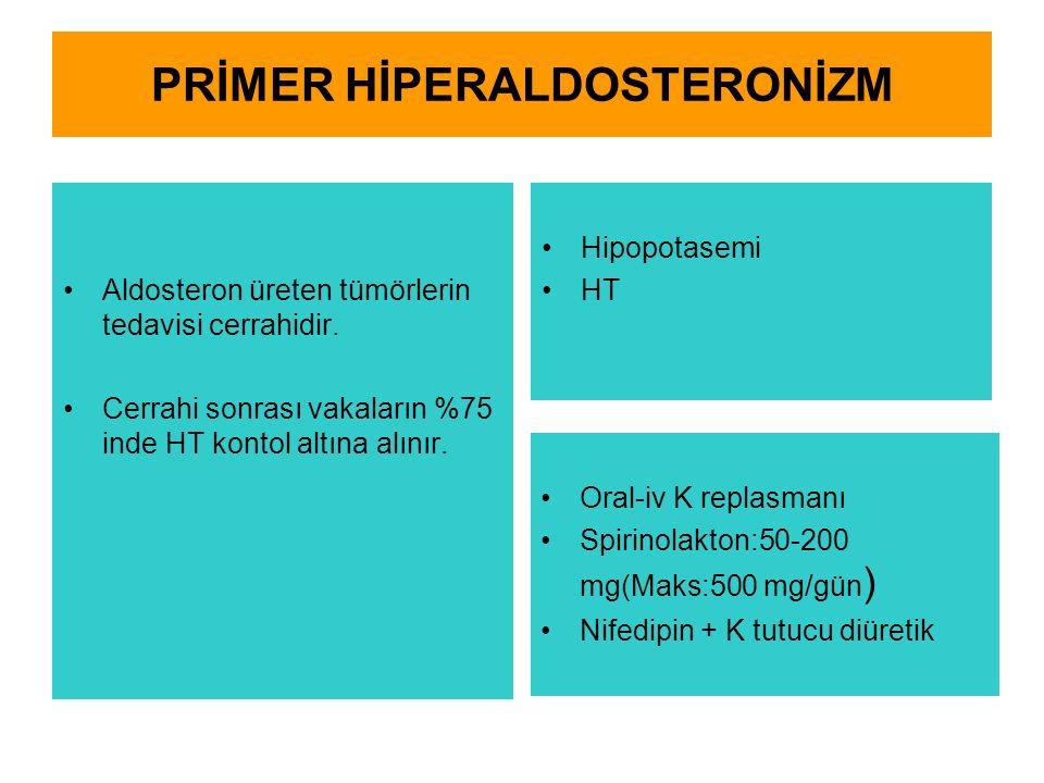 PRİMER HİPERALDOSTERONİZM Aldosteron üreten tümörlerin tedavisi cerrahidir. Cerrahi sonrası vakaların %75 inde HT kontol altına alınır. Hipopotasemi H