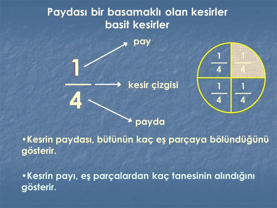 1 4 Kesrin paydası, bütünün kaç eş parçaya bölündüğünü gösterir. pay payda kesir çizgisi Kesrin payı, eş parçalardan kaç tanesinin alındığını gösterir