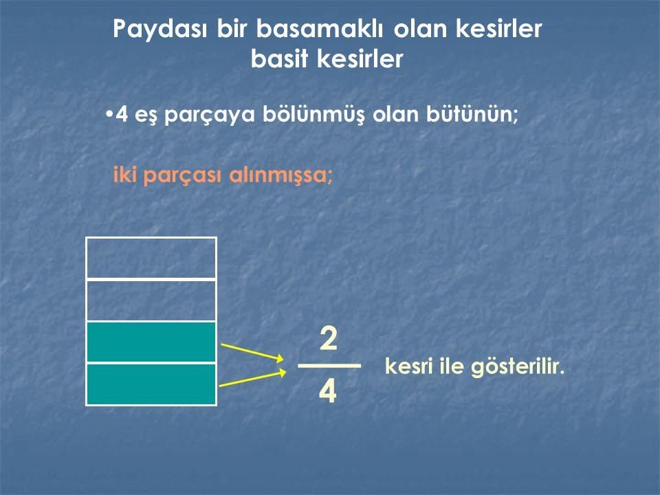 4 eş parçaya bölünmüş olan bütünün; iki parçası alınmışsa; kesri ile gösterilir. Paydası bir basamaklı olan kesirler basit kesirler