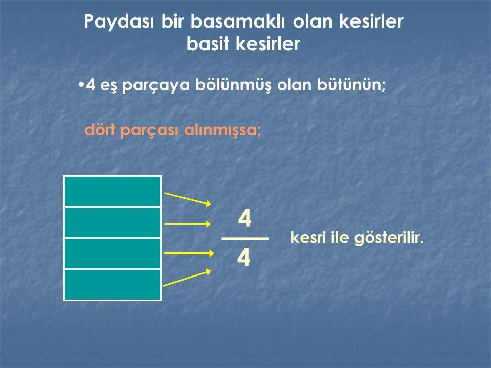 4 eş parçaya bölünmüş olan bütünün; dört parçası alınmışsa; kesri ile gösterilir. Paydası bir basamaklı olan kesirler basit kesirler