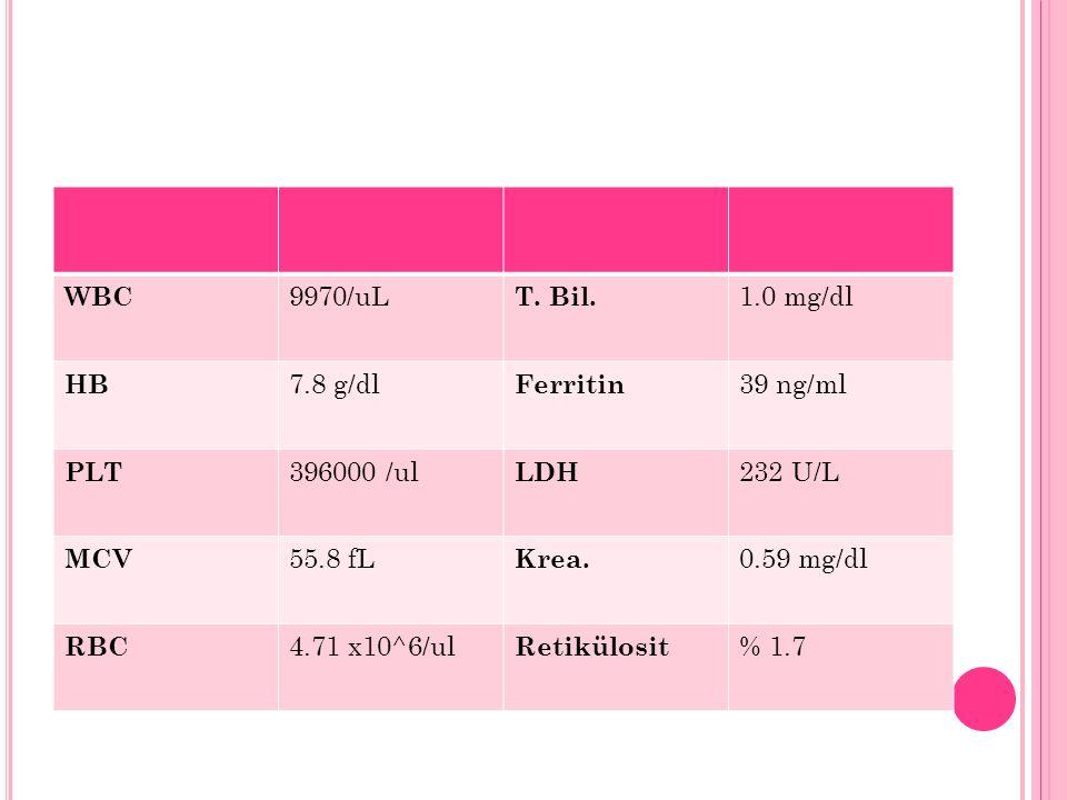 WBC 9970/uL T. Bil. 1.0 mg/dl HB 7.8 g/dl Ferritin 39 ng/ml PLT 396000 /ul LDH 232 U/L MCV 55.8 fL Krea. 0.59 mg/dl RBC 4.71 x10^6/ul Retikülosit % 1.