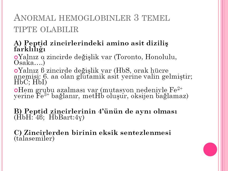 A NORMAL HEMOGLOBINLER 3 TEMEL TIPTE OLABILIR A) Peptid zincirlerindeki amino asit diziliş farklılığı Yalnız α zincirde değişlik var (Toronto, Honolul