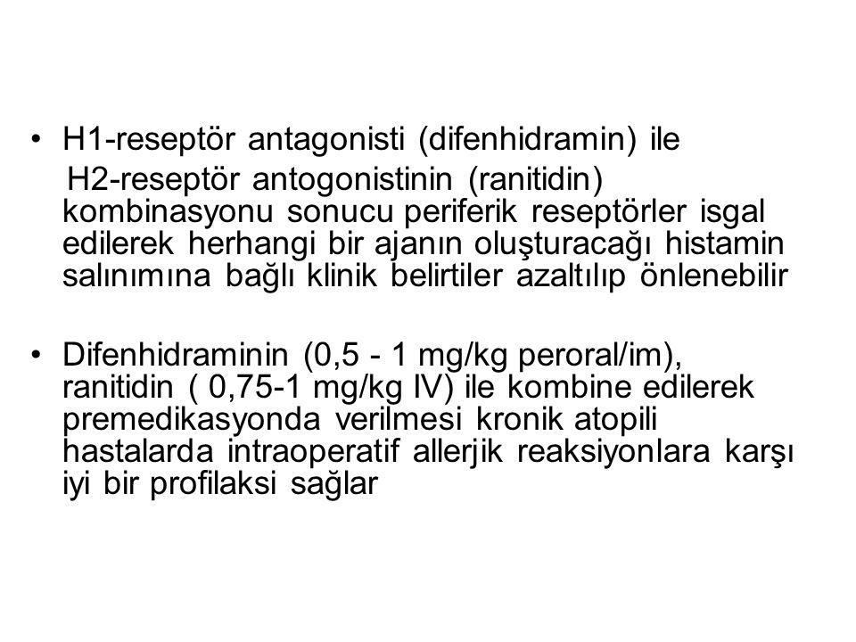 H1-reseptör antagonisti (difenhidramin) ile H2-reseptör antogonistinin (ranitidin) kombinasyonu sonucu periferik reseptörler isgal edilerek herhangi b