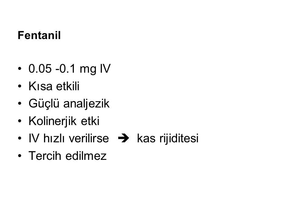 Fentanil 0.05 -0.1 mg IV Kısa etkili Güçlü analjezik Kolinerjik etki IV hızlı verilirse  kas rijiditesi Tercih edilmez