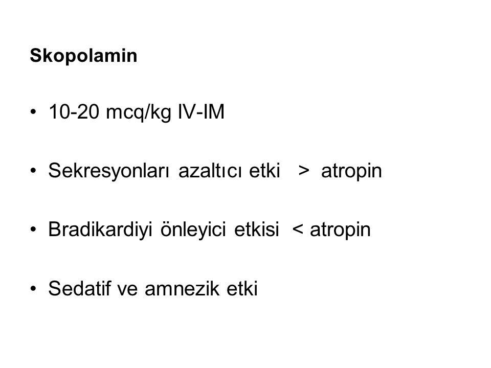 Skopolamin 10-20 mcq/kg IV-IM Sekresyonları azaltıcı etki > atropin Bradikardiyi önleyici etkisi < atropin Sedatif ve amnezik etki