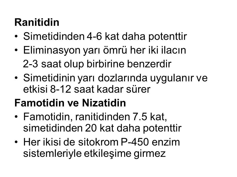 Ranitidin Simetidinden 4-6 kat daha potenttir Eliminasyon yarı ömrü her iki ilacın 2-3 saat olup birbirine benzerdir Simetidinin yarı dozlarında uygul
