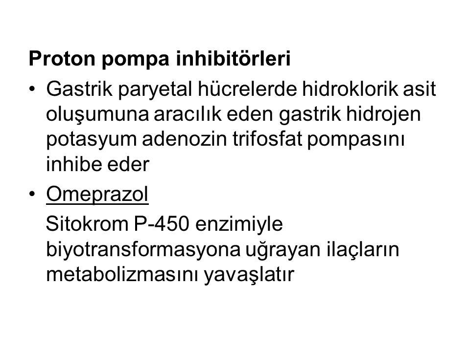 Proton pompa inhibitörleri Gastrik paryetal hücrelerde hidroklorik asit oluşumuna aracılık eden gastrik hidrojen potasyum adenozin trifosfat pompasını