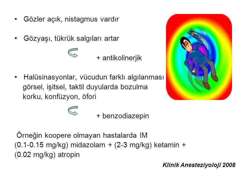 Gözler açık, nistagmus vardır Gözyaşı, tükrük salgıları artar + antikolinerjik Halüsinasyonlar, vücudun farklı algılanması görsel, işitsel, taktil duy