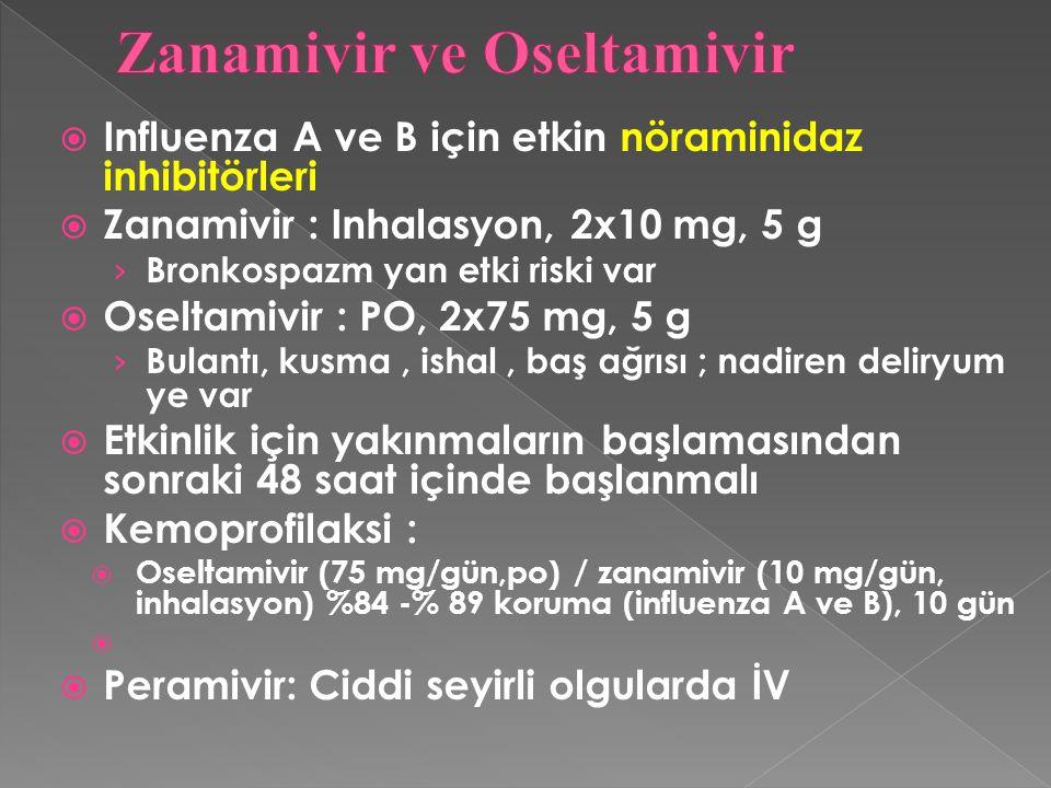  Influenza A ve B için etkin nöraminidaz inhibitörleri  Zanamivir : Inhalasyon, 2x10 mg, 5 g › Bronkospazm yan etki riski var  Oseltamivir : PO, 2x