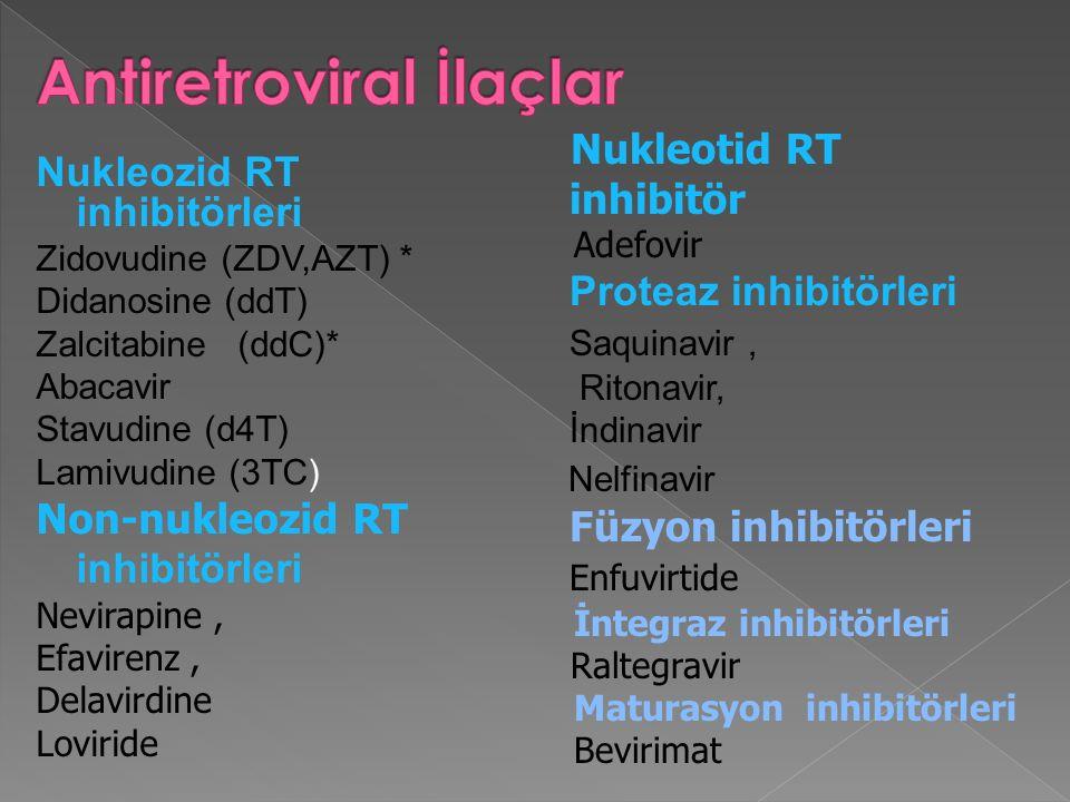Nukleozid RT inhibitörleri Zidovudine (ZDV,AZT) * Didanosine (ddT) Zalcitabine (ddC)* Abacavir Stavudine (d4T) Lamivudine (3TC) Non-nukleozid RT inhib