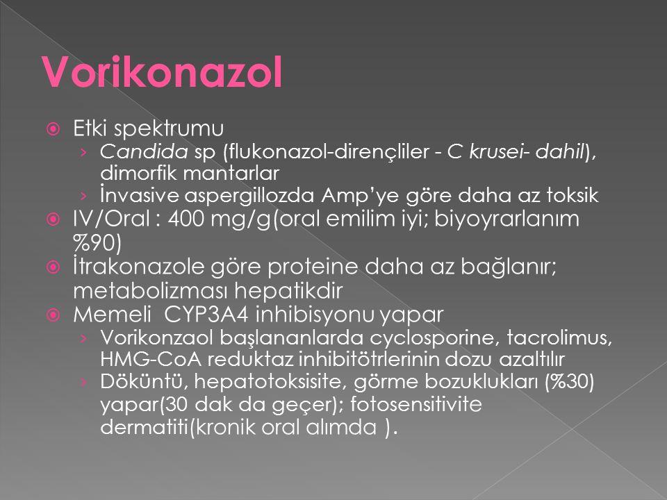  Etki spektrumu › Candida sp (flukonazol-dirençliler - C krusei- dahil), dimorfik mantarlar › İnvasive aspergillozda Amp'ye göre daha az toksik  IV/