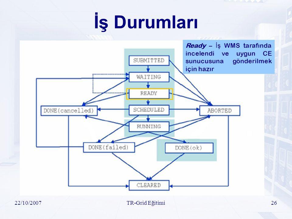 22/10/2007TR-Grid Eğitimi26 İş Durumları Ready – İş WMS tarafında incelendi ve uygun CE sunucusuna gönderilmek için hazır