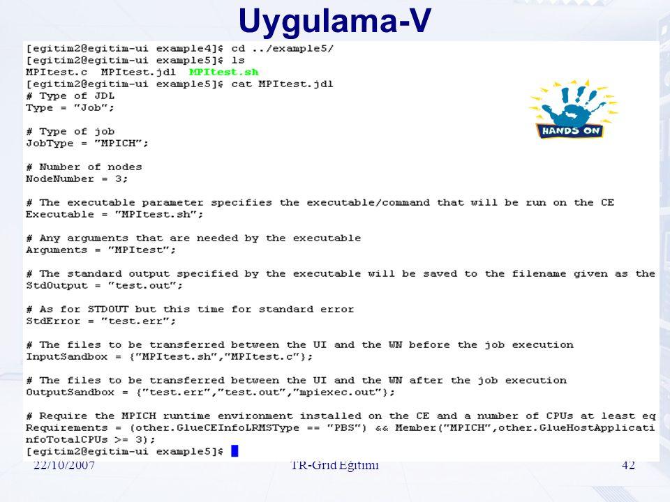 22/10/2007TR-Grid Eğitimi42 Uygulama-V