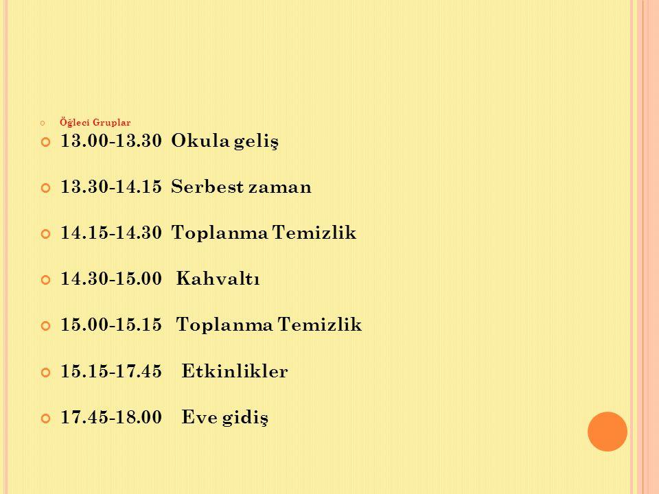 Öğleci Gruplar 13.00-13.30 Okula geliş 13.30-14.15 Serbest zaman 14.15-14.30 Toplanma Temizlik 14.30-15.00 Kahvaltı 15.00-15.15 Toplanma Temizlik 15.1