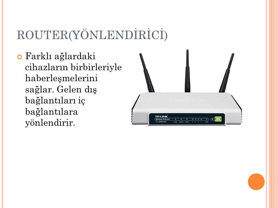 ROUTER(YÖNLENDİRİCİ) Farklı ağlardaki cihazların birbirleriyle haberleşmelerini sağlar.