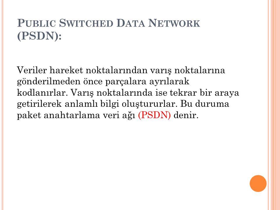 P UBLIC S WITCHED D ATA N ETWORK (PSDN): Veriler hareket noktalarından varış noktalarına gönderilmeden önce parçalara ayrılarak kodlanırlar. Varış nok