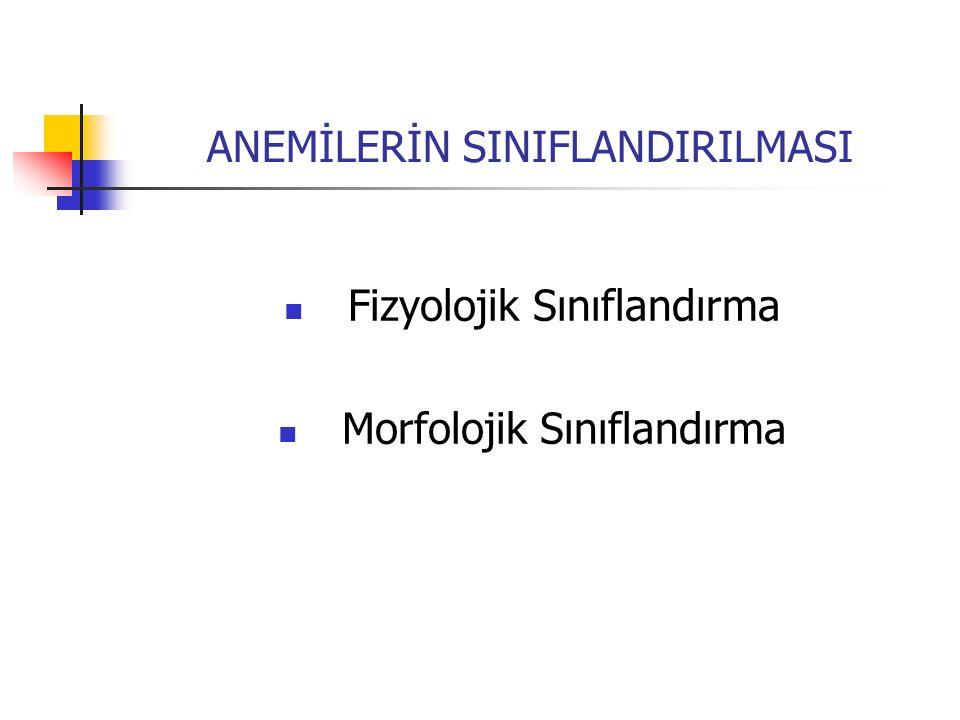 ANEMİLERİN SINIFLANDIRILMASI Fizyolojik Sınıflandırma Morfolojik Sınıflandırma
