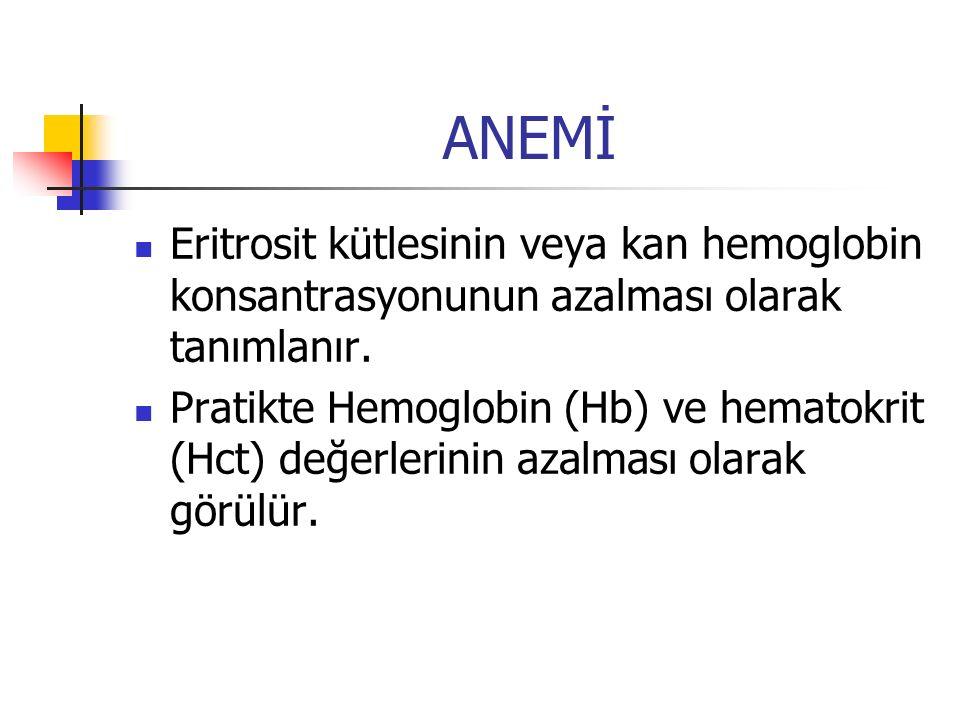 ANEMİ Eritrosit kütlesinin veya kan hemoglobin konsantrasyonunun azalması olarak tanımlanır. Pratikte Hemoglobin (Hb) ve hematokrit (Hct) değerlerinin