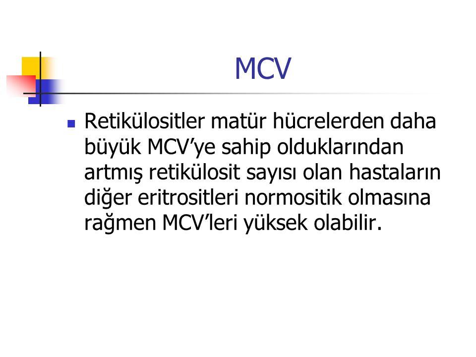 MCV Retikülositler matür hücrelerden daha büyük MCV'ye sahip olduklarından artmış retikülosit sayısı olan hastaların diğer eritrositleri normositik ol