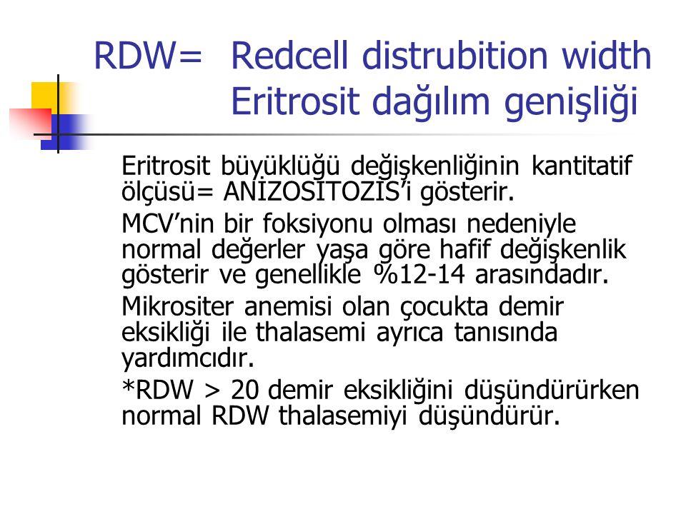 RDW= Redcell distrubition width Eritrosit dağılım genişliği Eritrosit büyüklüğü değişkenliğinin kantitatif ölçüsü= ANİZOSITOZİS'i gösterir. MCV'nin bi