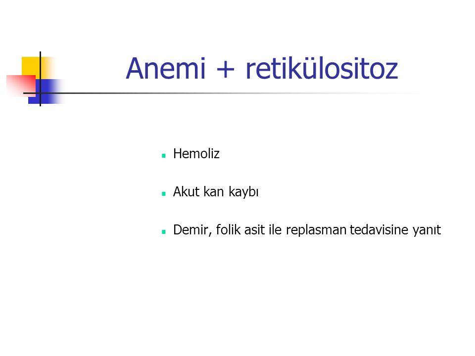 Anemi + retikülositoz Hemoliz Akut kan kaybı Demir, folik asit ile replasman tedavisine yanıt