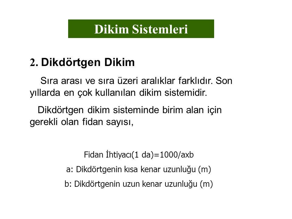Dikim Sistemleri 2. Dikdörtgen Dikim Sıra arası ve sıra üzeri aralıklar farklıdır. Son yıllarda en çok kullanılan dikim sistemidir. Dikdörtgen dikim s
