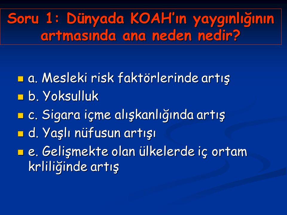 Soru 1: Dünyada KOAH'ın yaygınlığının artmasında ana neden nedir.