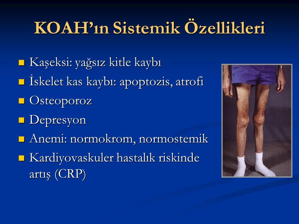 KOAH'ın Sistemik Özellikleri Kaşeksi: yağsız kitle kaybı Kaşeksi: yağsız kitle kaybı İskelet kas kaybı: apoptozis, atrofi İskelet kas kaybı: apoptozis, atrofi Osteoporoz Osteoporoz Depresyon Depresyon Anemi: normokrom, normostemik Anemi: normokrom, normostemik Kardiyovaskuler hastalık riskinde artış (CRP) Kardiyovaskuler hastalık riskinde artış (CRP)