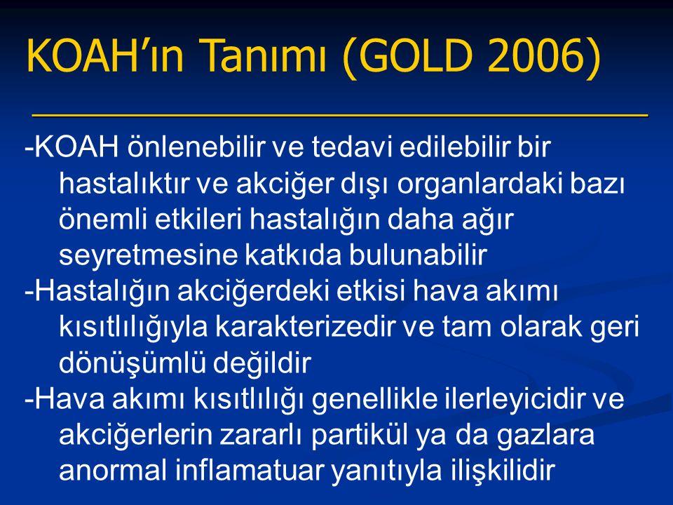 KOAH'ın Tanımı (GOLD 2006) -KOAH önlenebilir ve tedavi edilebilir bir hastalıktır ve akciğer dışı organlardaki bazı önemli etkileri hastalığın daha ağır seyretmesine katkıda bulunabilir -Hastalığın akciğerdeki etkisi hava akımı kısıtlılığıyla karakterizedir ve tam olarak geri dönüşümlü değildir -Hava akımı kısıtlılığı genellikle ilerleyicidir ve akciğerlerin zararlı partikül ya da gazlara anormal inflamatuar yanıtıyla ilişkilidir
