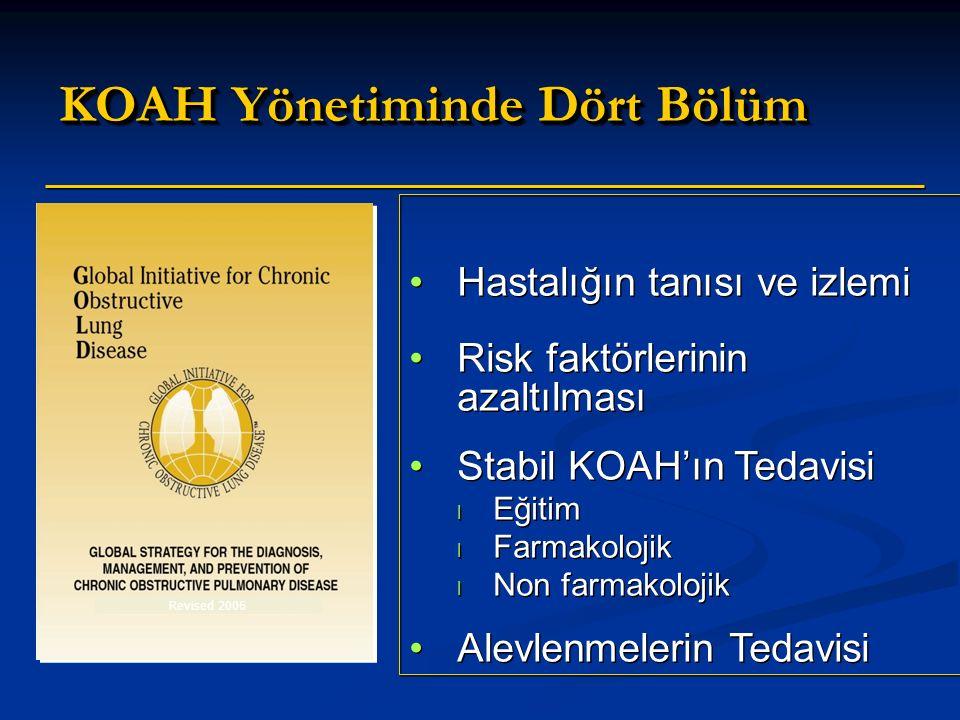 KOAH Yönetiminde Dört Bölüm Hastalığın tanısı ve izlemi Risk faktörlerinin azaltılması Stabil KOAH'ın Tedavisi l Eğitim l Farmakolojik l Non farmakolojik Alevlenmelerin Tedavisi Hastalığın tanısı ve izlemi Risk faktörlerinin azaltılması Stabil KOAH'ın Tedavisi l Eğitim l Farmakolojik l Non farmakolojik Alevlenmelerin Tedavisi Revised 2006