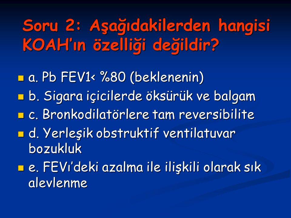 Soru 2: Aşağıdakilerden hangisi KOAH'ın özelliği değildir.