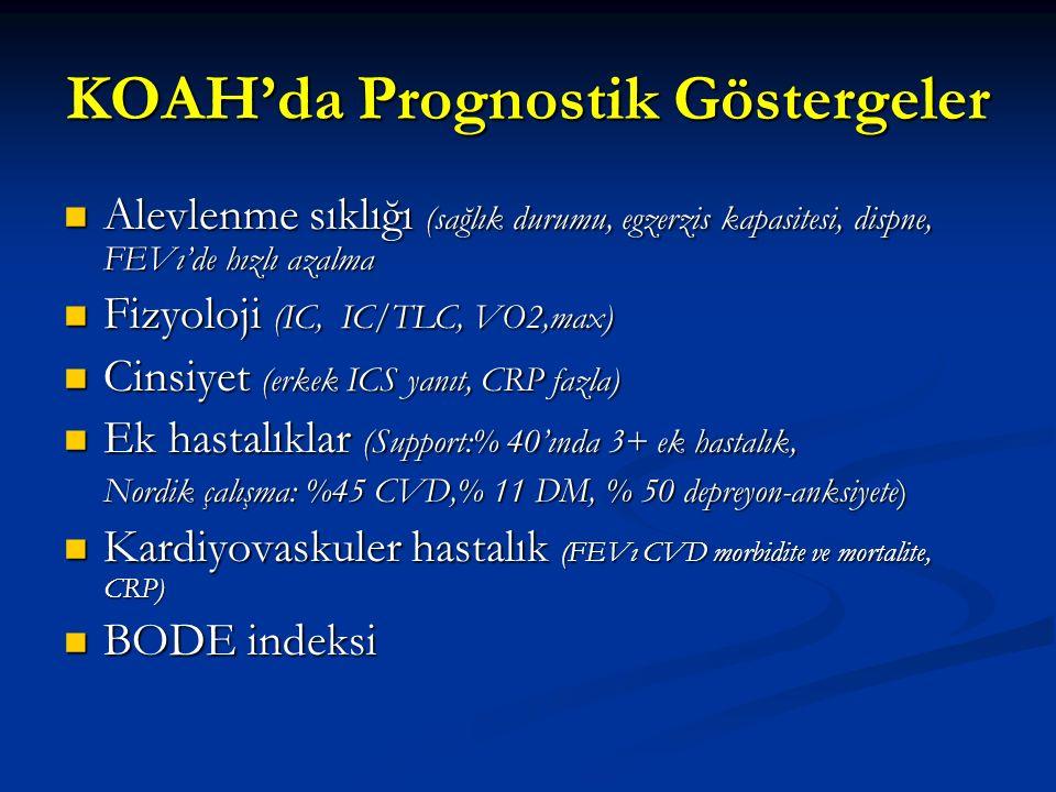KOAH'da Prognostik Göstergeler Alevlenme sıklığı (sağlık durumu, egzerzis kapasitesi, dispne, FEVı'de hızlı azalma Alevlenme sıklığı (sağlık durumu, egzerzis kapasitesi, dispne, FEVı'de hızlı azalma Fizyoloji (IC, IC/TLC, VO2,max) Fizyoloji (IC, IC/TLC, VO2,max) Cinsiyet (erkek ICS yanıt, CRP fazla) Cinsiyet (erkek ICS yanıt, CRP fazla) Ek hastalıklar (Support:% 40'ında 3+ ek hastalık, Ek hastalıklar (Support:% 40'ında 3+ ek hastalık, Nordik çalışma: %45 CVD,% 11 DM, % 50 depreyon-anksiyete) Kardiyovaskuler hastalık (FEVı CVD morbidite ve mortalite, CRP) Kardiyovaskuler hastalık (FEVı CVD morbidite ve mortalite, CRP) BODE indeksi BODE indeksi
