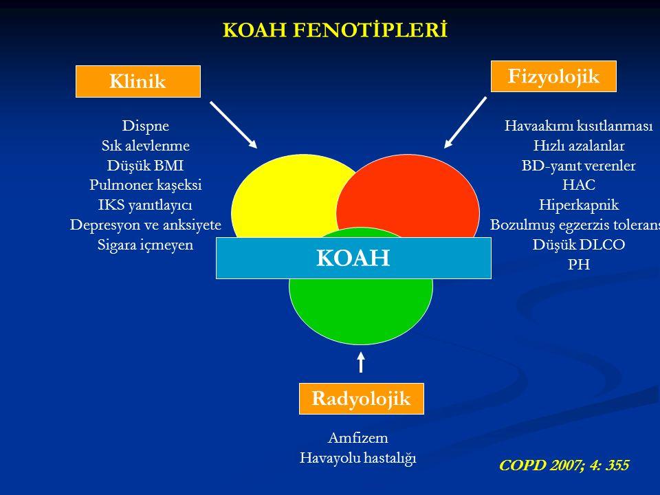 KOAH Klinik Radyolojik Fizyolojik Dispne Sık alevlenme Düşük BMI Pulmoner kaşeksi IKS yanıtlayıcı Depresyon ve anksiyete Sigara içmeyen Havaakımı kısıtlanması Hızlı azalanlar BD-yanıt verenler HAC Hiperkapnik Bozulmuş egzerzis toleransı Düşük DLCO PH Amfizem Havayolu hastalığı KOAH FENOTİPLERİ COPD 2007; 4: 355
