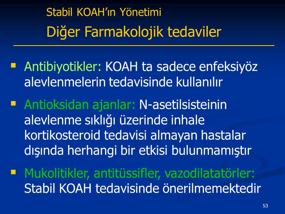 53 Stabil KOAH'ın Yönetimi Diğer Farmakolojik tedaviler  Antibiyotikler: KOAH ta sadece enfeksiyöz alevlenmelerin tedavisinde kullanılır  Antioksidan ajanlar: N-asetilsisteinin alevlenme sıklığı üzerinde inhale kortikosteroid tedavisi almayan hastalar dışında herhangi bir etkisi bulunmamıştır  Mukolitikler, antitüssifler, vazodilatatörler: Stabil KOAH tedavisinde önerilmemektedir