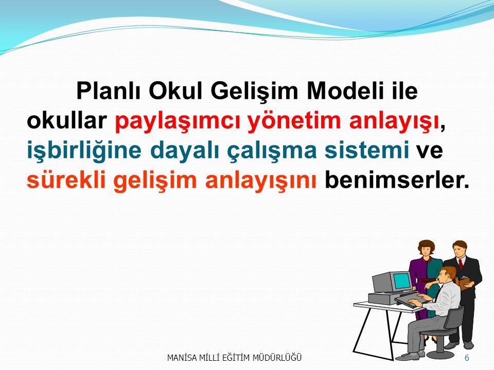 Planlı Okul Gelişim Modeli ile okullar paylaşımcı yönetim anlayışı, işbirliğine dayalı çalışma sistemi ve sürekli gelişim anlayışını benimserler.