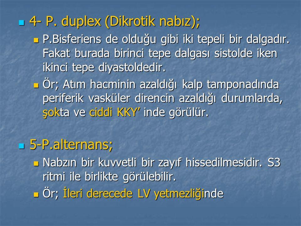 4- P. duplex (Dikrotik nabız); 4- P. duplex (Dikrotik nabız); P.Bisferiens de olduğu gibi iki tepeli bir dalgadır. Fakat burada birinci tepe dalgası s