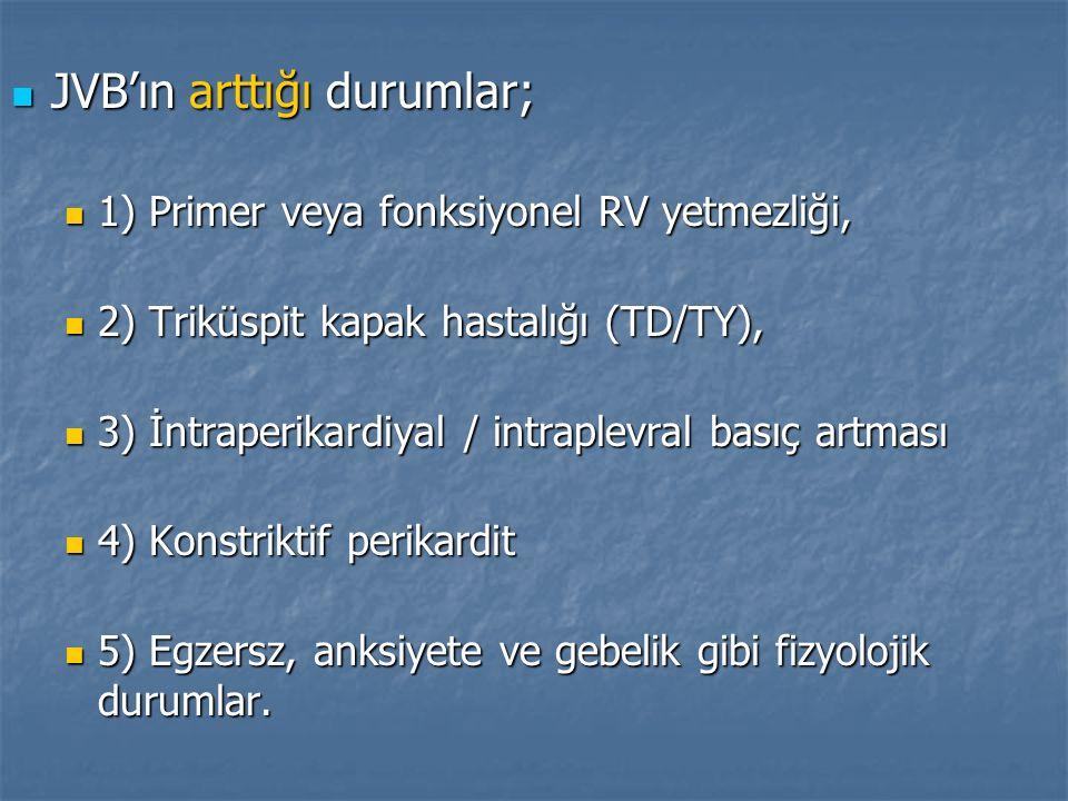 JVB'ın arttığı durumlar; JVB'ın arttığı durumlar; 1) Primer veya fonksiyonel RV yetmezliği, 1) Primer veya fonksiyonel RV yetmezliği, 2) Triküspit kap