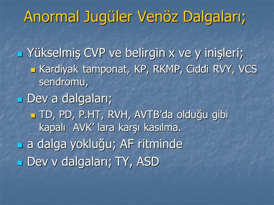 Anormal Jugüler Venöz Dalgaları; Yükselmiş CVP ve belirgin x ve y inişleri; Yükselmiş CVP ve belirgin x ve y inişleri; Kardiyak tamponat, KP, RKMP, Ci