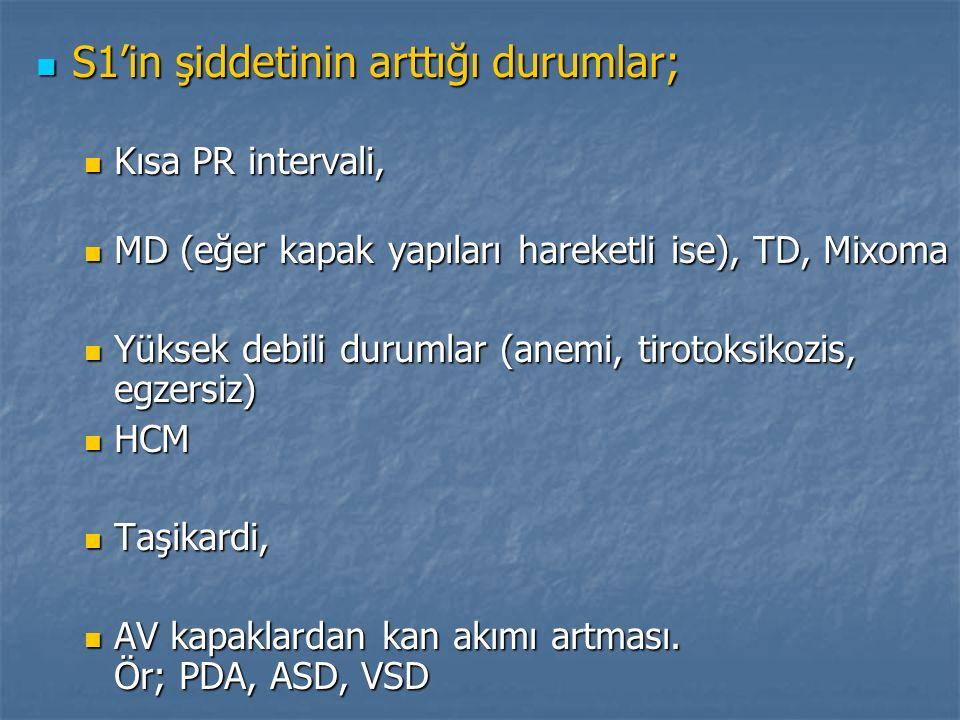 S1'in şiddetinin arttığı durumlar; S1'in şiddetinin arttığı durumlar; Kısa PR intervali, Kısa PR intervali, MD (eğer kapak yapıları hareketli ise), TD