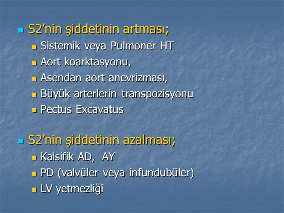 S2'nin şiddetinin artması; S2'nin şiddetinin artması; Sistemik veya Pulmoner HT Sistemik veya Pulmoner HT Aort koarktasyonu, Aort koarktasyonu, Asenda