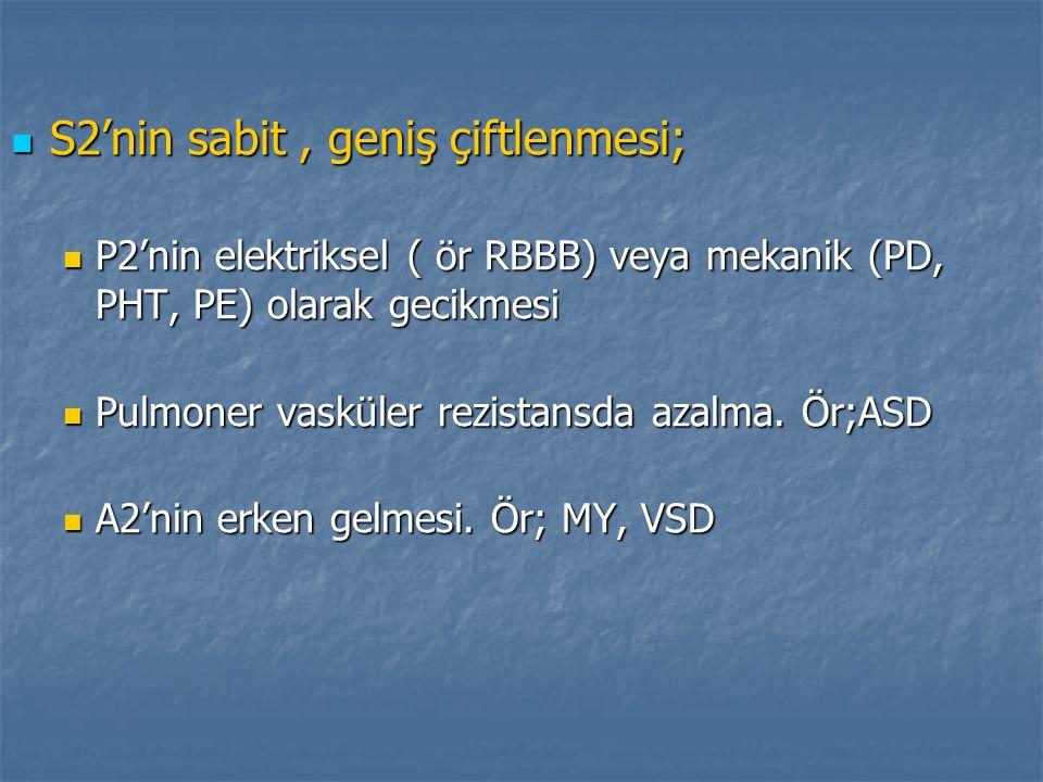 S2'nin sabit, geniş çiftlenmesi; S2'nin sabit, geniş çiftlenmesi; P2'nin elektriksel ( ör RBBB) veya mekanik (PD, PHT, PE) olarak gecikmesi P2'nin ele
