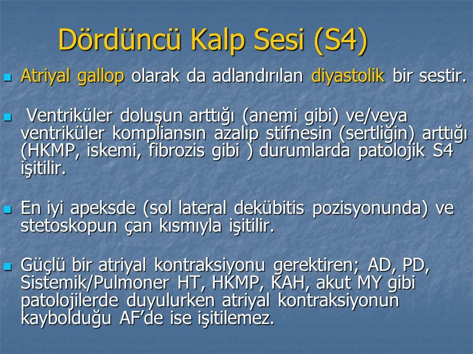 Dördüncü Kalp Sesi (S4) Atriyal gallop olarak da adlandırılan diyastolik bir sestir. Atriyal gallop olarak da adlandırılan diyastolik bir sestir. Vent